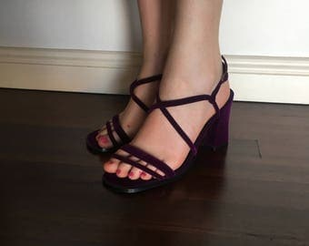 SALE!! 35% OFF 90s purple velvet strappy heels