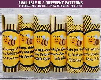 Bumble Bee Decorations - Bumble Bee Party Supplies - Black Bumble Bees - Bumble Bee Party Favors - Lip Balm Favors - Set of 10