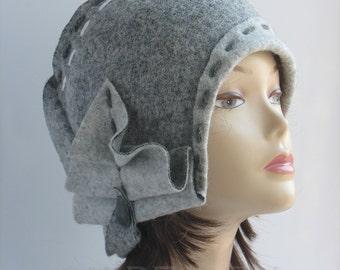 Wool Cloche Cap Fascinators Gatsby Style Retro Women Fall Elegant Fashion Felted Merino 1920s Cloche Felt Hat Gray Cloche Cap Fascinator Hat