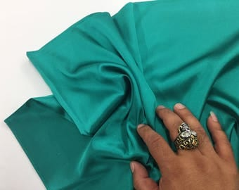 Teal green 58 inch 2 way stretch charmeuse satin-super soft silky satin-wedding-bridal-prom-nightgown-sold by the yard.