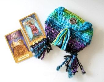 Blue Green Purple Fringe Tarot Bag Handmade Crochet Pouch purse organizer cosmetic bag yarn handmade Celtic Tribal wallet womens boho purse
