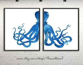 Octopus print, art print set, watercolor print, octopus art, blue nautical decor, large print, set of 2 prints - 592