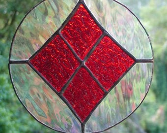 Abstract Round, Red, Iridised Clear, Stained Glass Suncatcher, Handmade in Australia