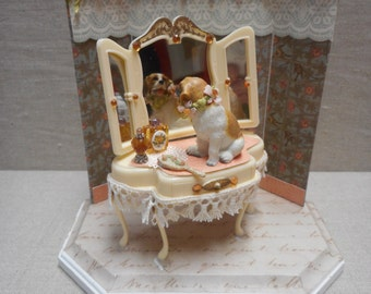 Miniature scene - pretty pooch at the vanity