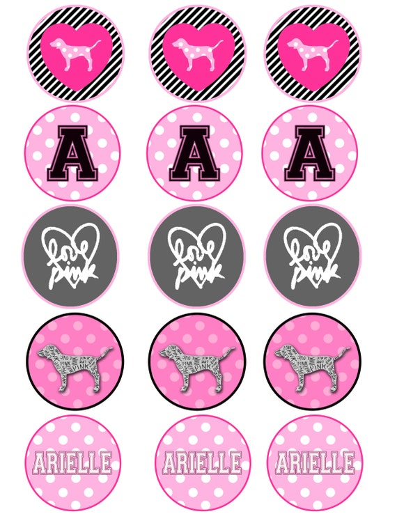 Pink Victoria Secret Themed Cupcake Toppers Sticker