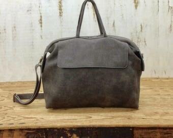 Sale! Gray Leather handbag leather crossbody purse Women's messenger bag Large leather messenger bag for women Handmade tote bag