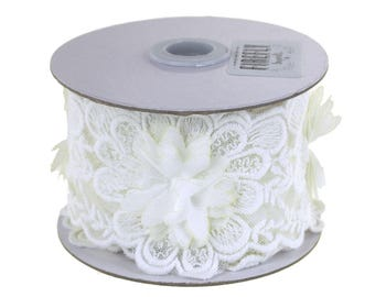 Floral Lace Trim with Embroidery Petals Ribbon, 2-1/2-Inch, 3 Yards