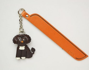 Portuguese water dog Leather dog Charm Bookmark/Bookmarks/Bookmarker *VANCA* Made in Japan #61775 Free Shipping