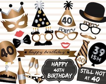 Instant Download 40th Birthday Party Photo Booth Props, Forty Photo Booth Props, Gold Silver Black 40 Birthday Party Photo Booth Props, 0002