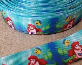The Little Mermaid Grosgrain Ribbon. Ariel 1 inch ribbon. Ariel  ribbon.