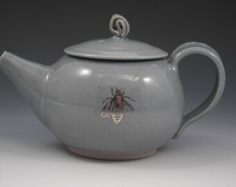 Ceramic Teapot, Grey Pottery Teapot, Wheel Thrown Stoneware Teapot, Tea Lovers Gift, Bee Teapot, Insect Pottery, Silver Bee, Platinum Bee
