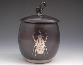 Black Lidded Jar, Ceramic Storage Canister, Beetle Jar, Insect Lovers Gift, Stoneware Salt Cellar, Spice Storage Jar, Modern Jar, Sugar Keep