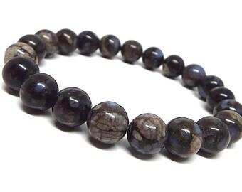 10mm Llanite Bracelet, Blue Quartz Bracelet, Blue Mens Beaded Bracelet,  Rhyolite Bracelet, Blue Bead Bracelet Women,Quartz Jewelry Bracelet