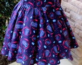 Plus Size Doctor Who Flared Circle Skirt (made to order)