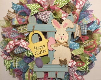 Easter wreath, Easter wreaths, Easter bunny wreath, wreath, burlap Easter wreath, burlap bunny wreath, Easter door decor, Easter, wreath