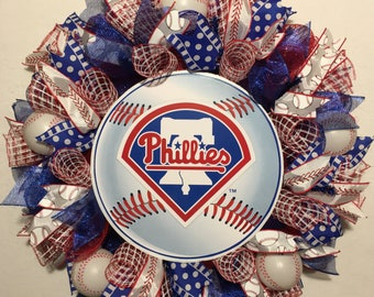 Philadelphia Phillies wreath, phillies wreath, Philadelphia Phillies decor,  phillies decor, phillies baseball wreath, baseball wreath