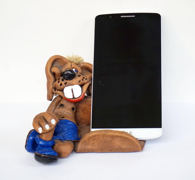 CERAMIC PHONE HOLDER Dog Ceramic Figurine Business Cards Holder ...