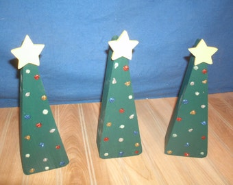 Wooden Christmas tree trio,wood Christmas decor, wooden Christmas mantle decor, Christmas tree