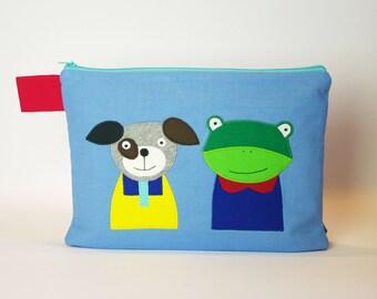 "Diaper bag/cosmetic bag ""Frog and dog"""