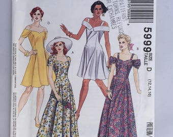 Vintage McCall's 5999 Pattern Misses' Semi Fitted Summer Dress in Two Lengths Sizes 12,14,16 Uncut