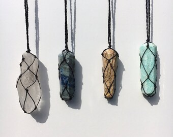 Handwrapped crystal necklace