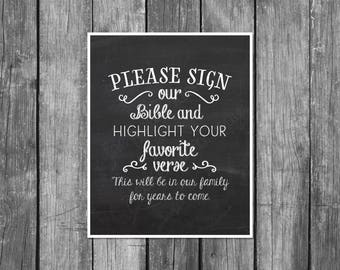 Wedding Signs, wedding printable, please sign our bible and highlight, wedding guest book, wedding download