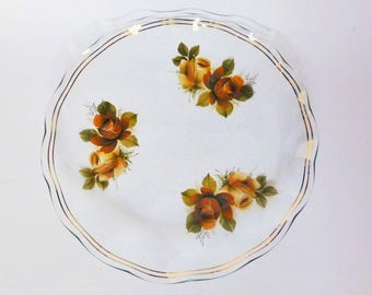 Pretty Vintage Glass Serving Plate with Brown Roses, Cottage Chic Kitchen Decor, 1950s Kitchen, Mid Century Cake Plate, Vintage Wedding,