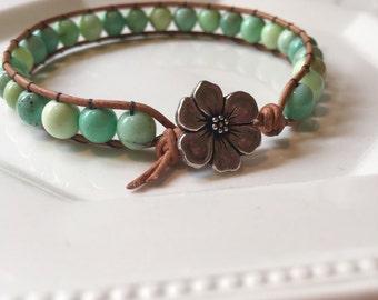 Natural leather wrap bracelet
