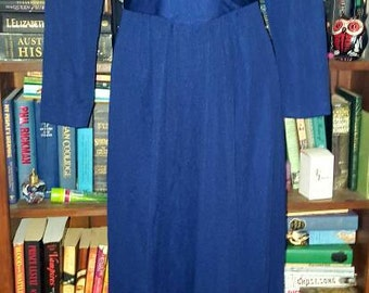 Vintage 1970s hippie glam royal blue maxi dress size 12