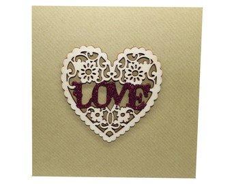 Wooden LOVE heart card - Valentines Anniversary Occasion