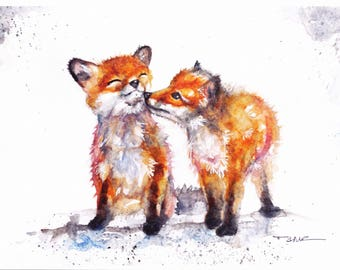 Original Watercolour Little Foxes Print by Artist Be Coventry Wildlife Animal Art