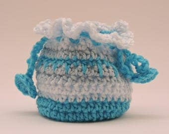 Blue and White Gift Bag , Blue Make Up Bag, Small Crocheted Bag, Small Drawstring Bag, Small Trinket Bag
