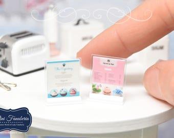Miniature Menu SET (2pcs) pink or blue  - handmade dollhouse- one inch scale 1:12