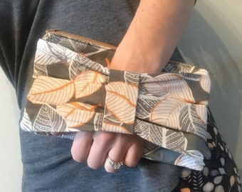 Gray Orange Leaf Bow Clutch Purse