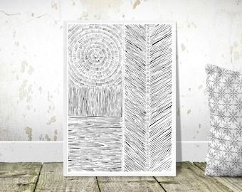 Handmade acrylic patterned print - A4 Print of original - high quality acid free paper