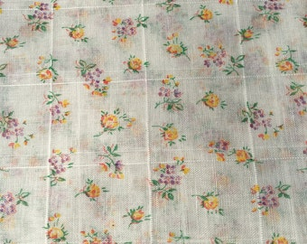 Vintage Sheer Cotton Quilt / Dress Fabric sold by the Yard