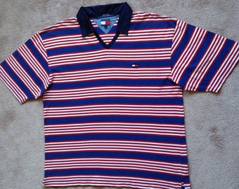 Vintage Tommy Hilfiger tommy Jeans V Neck 1985 horizontal striped blue red white 100% cotton short sleeve T shirt mens XL Collared Tee Shirt
