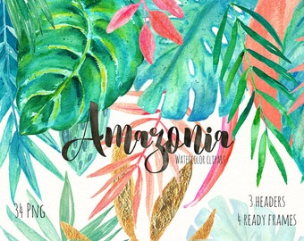 Frames and headers arrangements with tropical leaves  watercolor clipart hand drawn. Bright and tender green branches, wedding invitation.