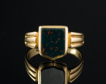 Genuine Victorian natural bloodstone signet ring