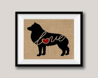 Schipperke Love - Burlap Wall Art Gift for Dog Lovers - Rustic Farmhouse Style Print - Personalize Silhouette w/ Name - More Breeds (101s)