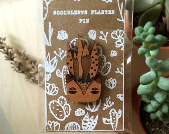 Laser Cut Succulents Planter Pin Brooch |  Succulent in Fox Planter