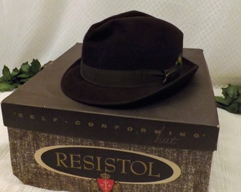 60s Mens Fedora Hat Brown Wool Felt Size 7 1 / 8 By Resistol