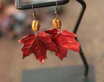 Red canadian maple leaves earrings, metal electroformed, organic look, botanical jewelry,electroforming, natural leaf, electroform,elven elf