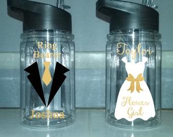 Ring bearer cup, flower girl bottle, personalized flower girl water bottle, personalized ringbearer cup, wedding favor, wedding party bottle