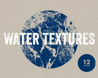 12 Water Textures - Vector & PNG resources. Digital download. Art prints, t-shirts and merchandise. Sea, ocean, reef, liquid, natural, waves