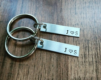 Hand Stamped Personalized Couple Keychains - Wedding Gift - Anniversary Gift - Husband Gift - Boyfriend Gift - Couple Keychain Set