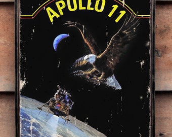 Vintage wooden sign 'Apollo 11 LEM and Eagle' reproduction sign