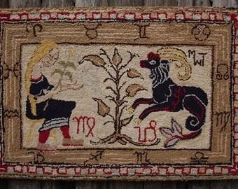 Early American Hooked Rug Depicting Whimsical Zodiac Detail, Unicorn, & Female