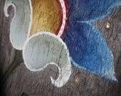 Blue floral folk motif, reclaimed barn board, Spring Easter blossom
