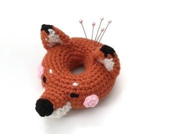 Amigurumi Fox Doll Pin Cushion Crochet Fox Plush Crochet Donut Pin Cushion Sewing Supplies Home Decor Kids Toy Mothers Day Gift Gift for Her